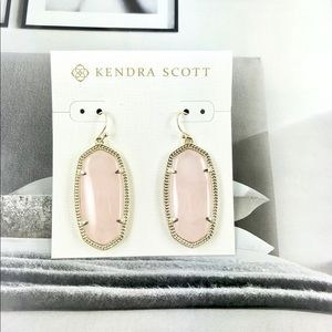 Kendra Scott Elle rose quartz gold earrings